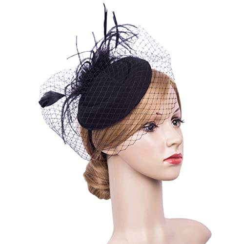 e14874208 Cizoe Fascinator Hair Clip Pillbox Hat Bowler Feather Flower Veil Wedding  Party Hat Tea Hat