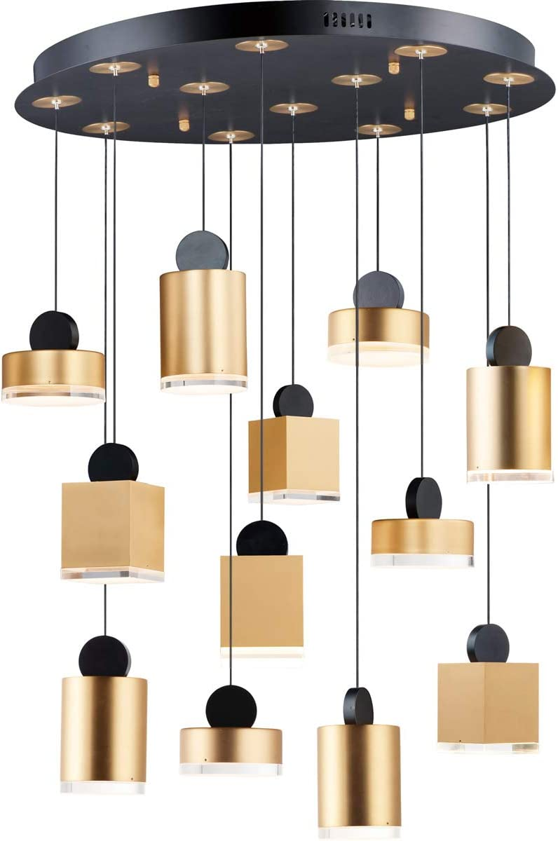 Pendants 12 Light Fixtures Memphis Mall with Black and a Finish Gold Aluminum Max 52% OFF
