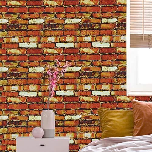 Rock Wallpaper Stone Wallpaper Peel & Stick Wallpaper Self-Adhesive Wallpaper Colorful Bricks Cement Wall Vinyl Wallpaper for Wall Decor Film Roll