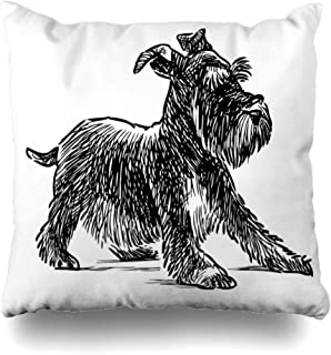 DIYCow Throw Pillows Covers Dog Schnauzer Puppy Drawing Silhouette Beard Home Decor Pillowcase Square Size 16 x 16 Inches Cushion Case