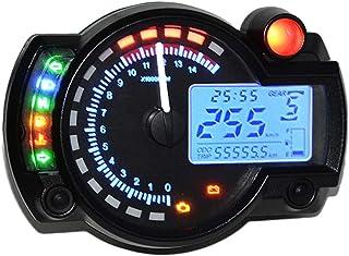 mewmewcat Retroiluminação com cor ajustável universal LCD velocímetro digital para motocicleta Odômetro Tacômetro para mot...
