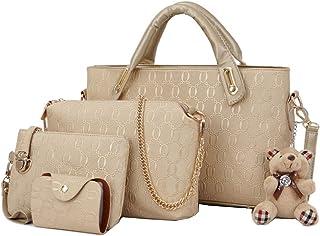GUANJIU Damen Mode Handtasche 4pcs Set PU Tote Schulter Umhängetasche Umhängetasche