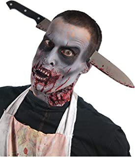 Costume Zombie Shop Kitchen Knife-Thru-Head