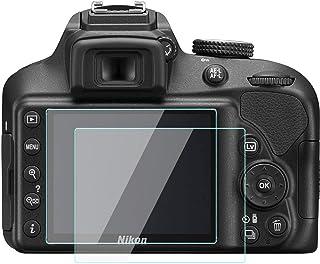 KOMET Nikon D3500 D3400 D3300 D3200 LCD Protector de Pantalla Foils Vidrio Templado Funda para Nikon D3500 D3400 D3300 D3200 Cámara Digital (2 Unidades)