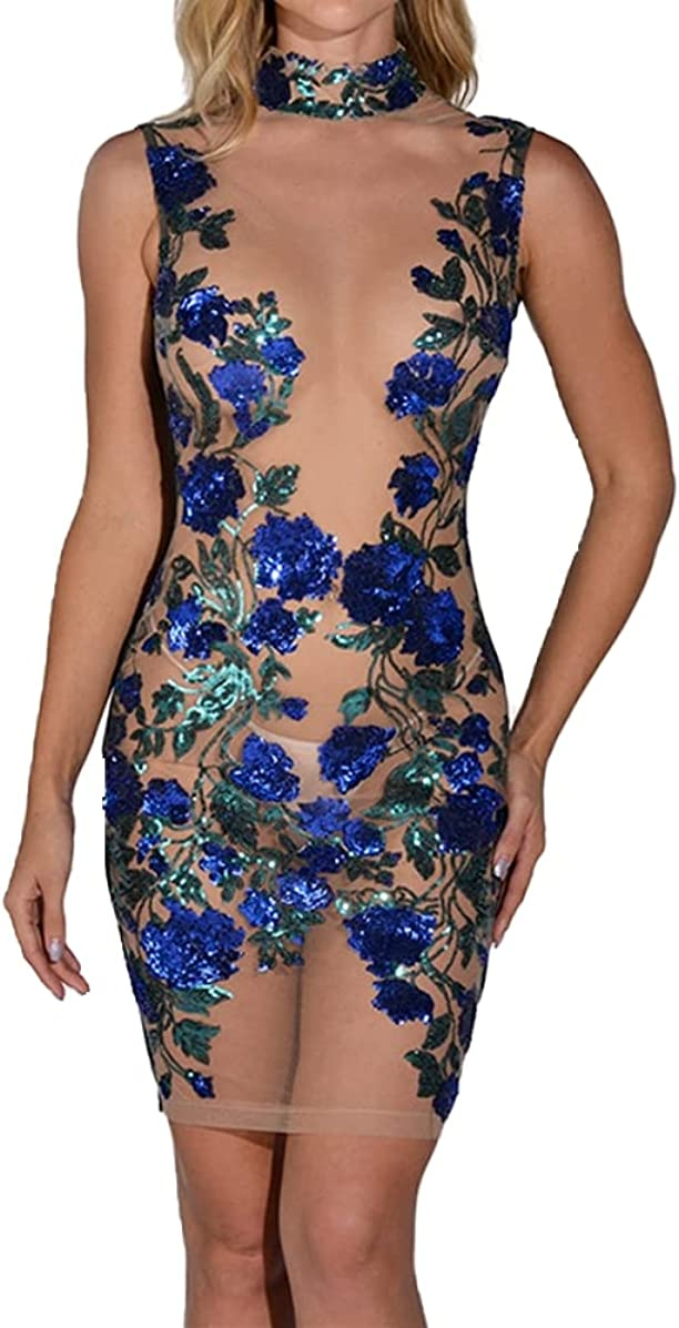 Simasoo Women's Sexy Dress Mesh See-Through Sleeveless Floral Se