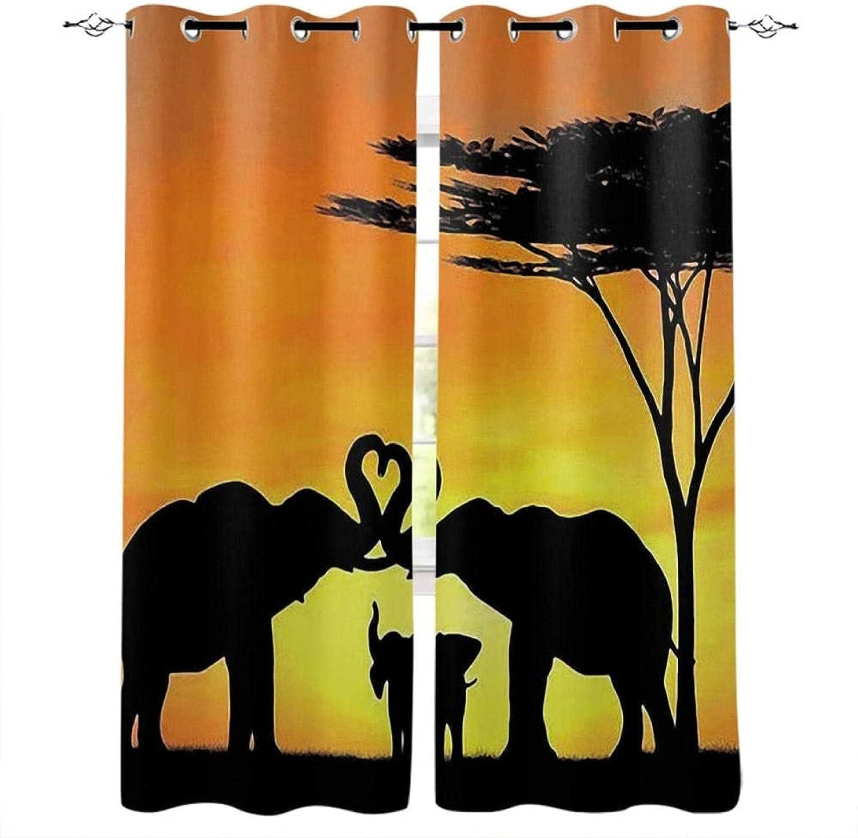 XKSJWY Curtains for Living Room Popular price product Elephant Sunset - Landscape Anim