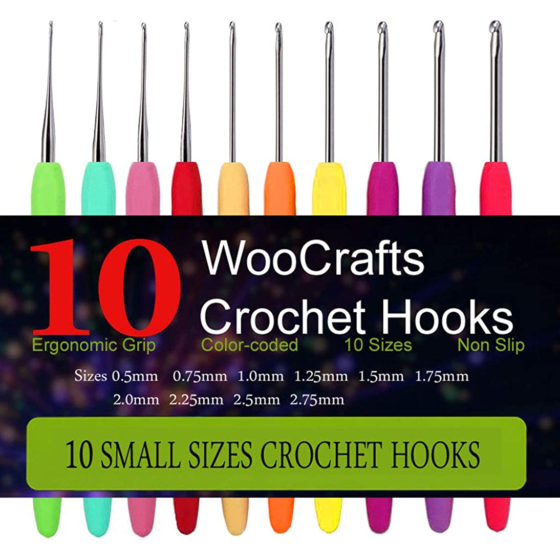 10 Small Size Steel Crochet Hook Set Thread Crochet Lace Hooks Ergonomic Handle Perfect for Arthritic Hands