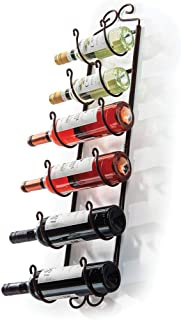 Sagler Towel Rack and Wine Rack - Bronze Wall Wine Rack - Wall Mounted Wine Rack fits up 6 Level Wine Bottles and Many Tow...