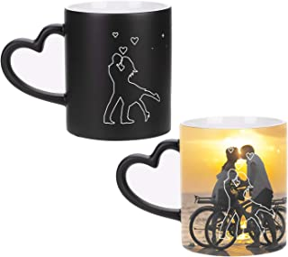 LONTG Personalized Coffee Mugs Custom Color Changing Photo Mugs Personalized DIY Add Photo Picture Text Print Hot Heat Sensitive Cup Ceramic Custom Mug Families Friends Birthday