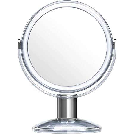 Beautifive Vanity Mirror, Dressing Table Makeup Mirror with 1x/7x, 360° Swivel Magnifying Mirror, Free Standing Bathroom Mirror with Crystal-like Style