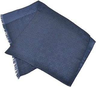 362653 Women's Wool Silk GG Guccissima Scarf O/S Navy Blue