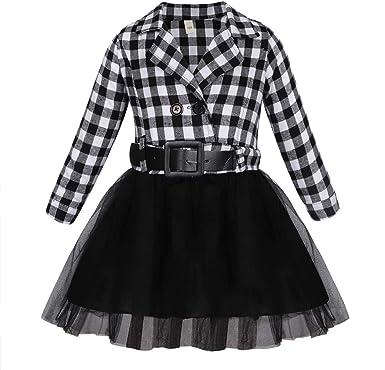 Jurebecia Vestido de niñas Manga Larga Camisa a Cuadros para niñas Vestido tutú para niños Falda de Tul Disfraz para niñas pequeñas