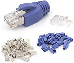 VCE 30-Pack Nickel Plated Shielded Cat6A/Cat7 RJ45 Modular Plug with Cat7/Cat6A Ethernet RJ45 Cable Cap Connector Strain Relief Boots-Blue