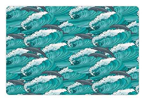 Ambesonne Sea Animals Pet Mat for Food and Water, Wavy Ocean with Dolphins Windy Surfing Doodle Style Art Print, Non-Slip Rubber Mat for Dogs and Cats, 18