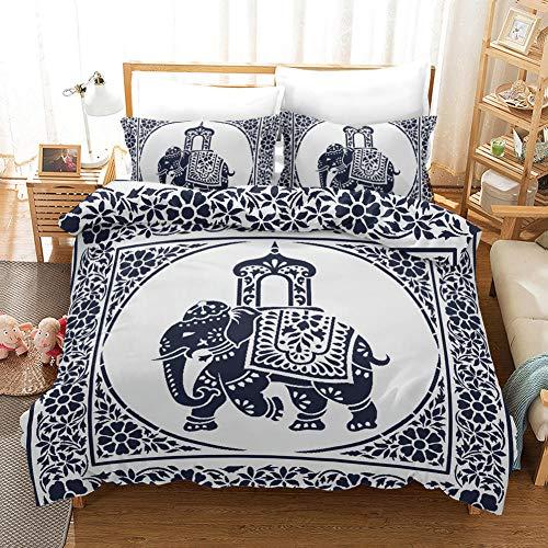 3D Duvet Covers Blue White Elephant 78.7 X 78.7 inch Double–Microfiber Quilt Cover Bedding Set With Pillocases 3 Pcs Bedding Set