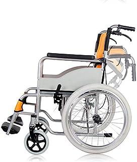 手動車椅子折りたたみ式ポータブルトランジットトラベルチェアステンレススチール素材でロックハンドブレーキ輸送車椅子用旅行と保管