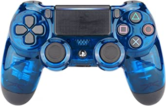 eXtremeRate Transparent Crystal Clear Blue Front Housing Shell Faceplate Cover for Playstation 4 PS4 Slim PS4 Pro Controller (CUH-ZCT2 JDM-040 JDM-050 JDM-055)