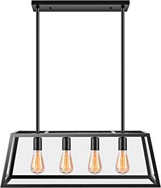 Kitchen Island Pendant Lighting with 4 Lamp Sockets, Pynsseu Matte Black Shade with Clear Glass Panels, Industrial Hanging Pendant Light Fixture for Kitchen Island Breakfast Bar Dining Room