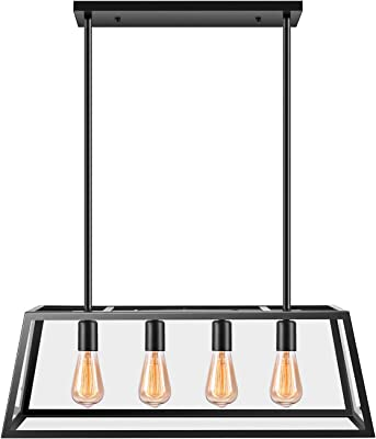 Kitchen Island Pendant Lighting With 4 Lamp Sockets Pynsseu Matte Black Shade With Clear Glass Panels Industrial Hanging Pendant Light Fixture For Kitchen Island Breakfast Bar Dining Room