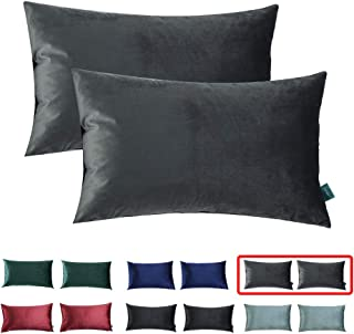HOMEPLUS Reversible Throw Pillow Covers with Velvet 2 Pack 12X20 Inch for Sofa, Bedroom Solid Grey Cushion Cover