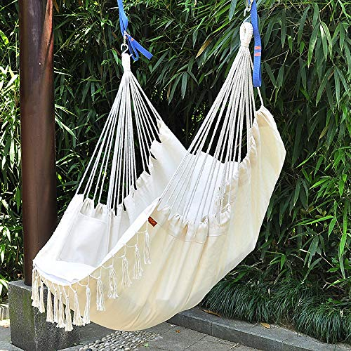 MyWheelieBin Indoor And Outdoor Adult Children's Hanging Chair Tassel Type White (3 fold iron rod + 2 cushions)