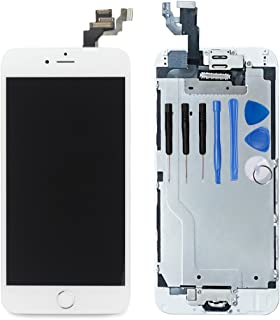 for iPhone 6 Digitizer Screen Replacement White - Ayake 4.7`` Full LCD Display Assembly with Home Button, Front Facing Camera, Earpiece Speaker Pre Assembled and Repair Tool Kits