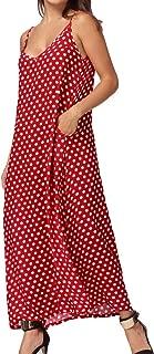Women V Neck Polka Dot Spaghetti Strap Dress Boho Beach Long Maxi Dresses