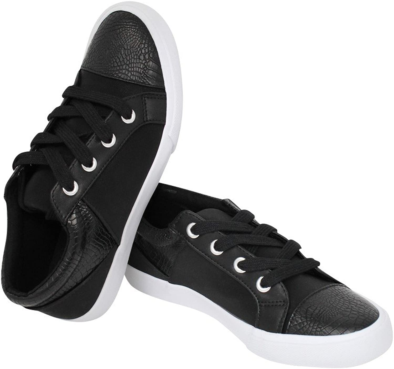 Fortune dynamic Womens Low Top Front Lace-Up Leatherette Round Toe, Synthetic Sole Fashion Sneaker