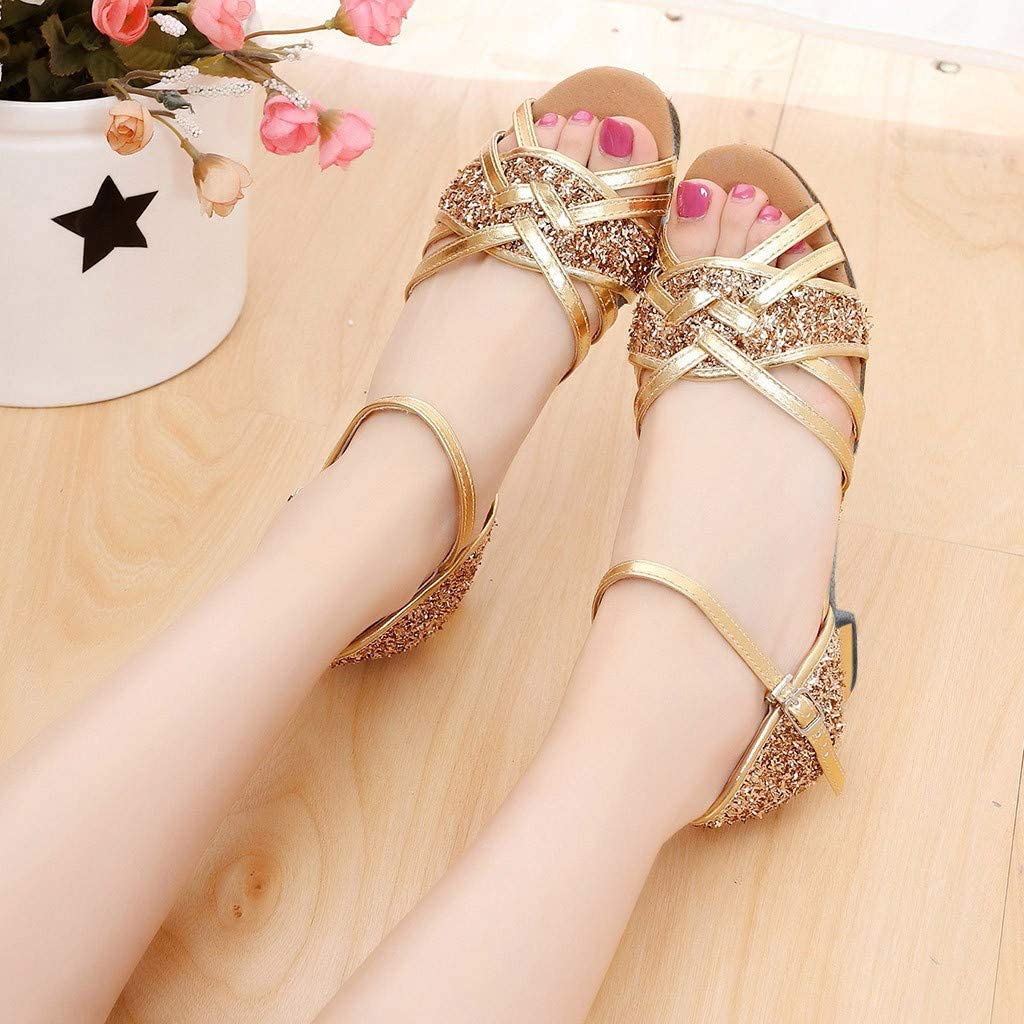 Ballroom Dancing Shoes for Women with Heels Open Toe Solid Color Glitter Dress Shoes Party Latin Salsa Dance Shoes