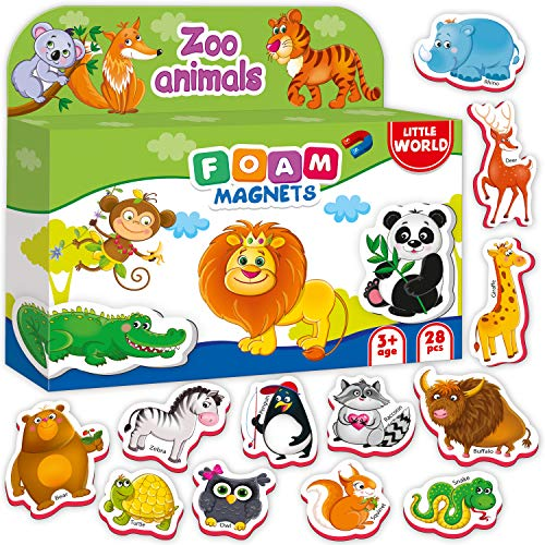 Little World Foam Fridge Magnets for Toddlers Age 1 2 3 - Refrigerator Magnets for Kids – Large Baby Magnets Toy – Set of 28 Magnetic Animals for Toddler Learning – Safe Kids Magnets