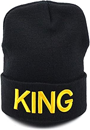 WENDYWU 1Pc King and Queen Fashion Black Couples Lovers Warm Knitted Beanie Hats