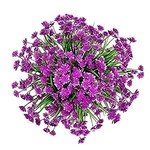 Zonlong 4 Bundles Artificial Flowers, UV Resistant No Fade Faux Flower, Fake Flowers Plant, Hanging Plant, for Garden, Wedding, Farmhouse Indoor or Outdoor etc Decor