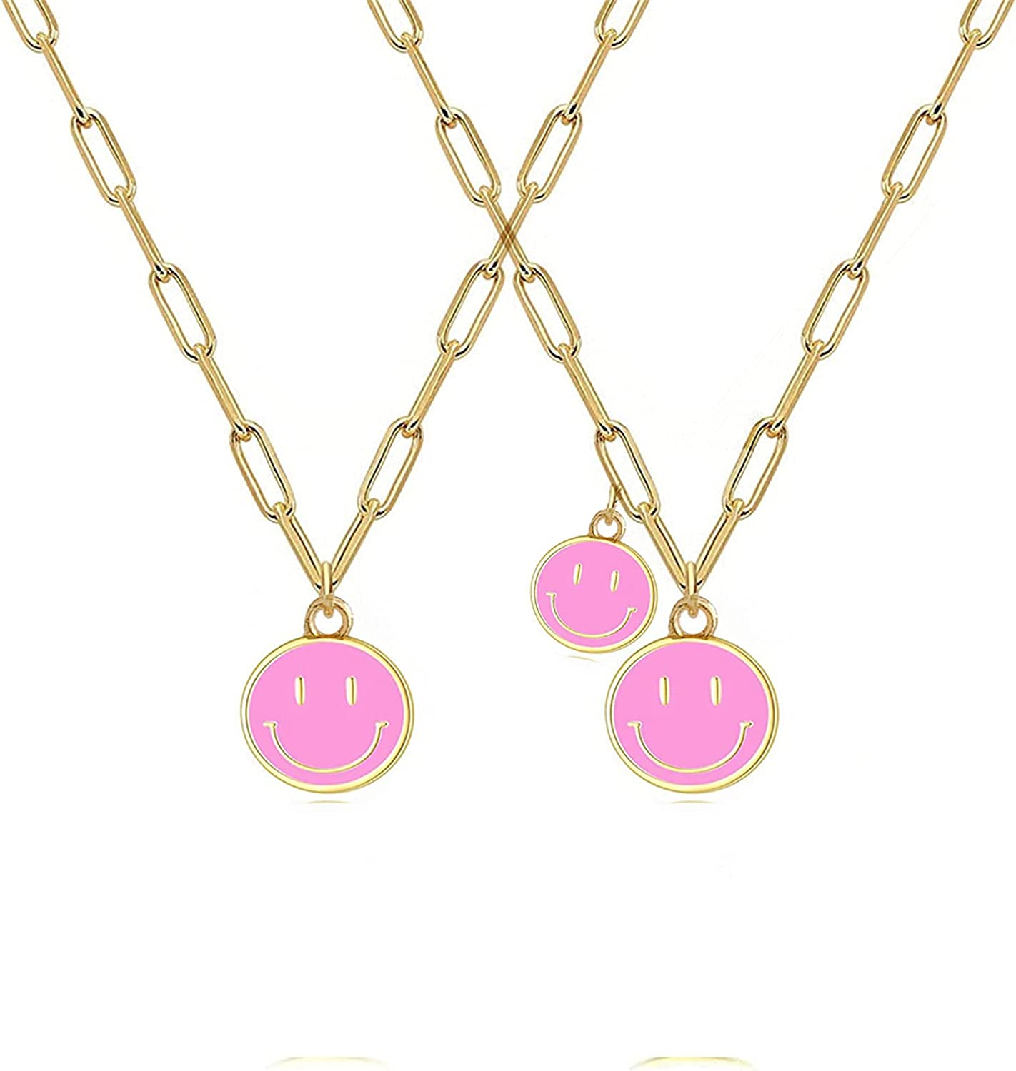2 Pcs Colorful Happy Face Choker Lovely Smile Pendant Paperclip Chain Necklace Friendship Couple Necklace Jewelry Women Girls