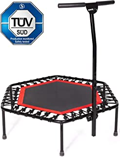 Sportplus Silent Fitness Mini Trampoline with Adjustable Handrail Bar – Indoor Rebounder for Adults – Best Urban Cardio Jump Fitness Workout Trainer, Covered Bungee Rope System – Max Limit 286 lbs