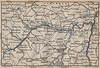 NAHETAL. Idar-Oberstein Kirn Monzingen Rüdesheim Kreuznach Sobernheim - 1892 - old map - antique map - vintage map - Rhineland-Palatinate map s