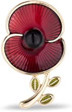 The Royal British Legion The Poppy Collection - Broche esmaltado y hoja (tamaño mediano), color dorado