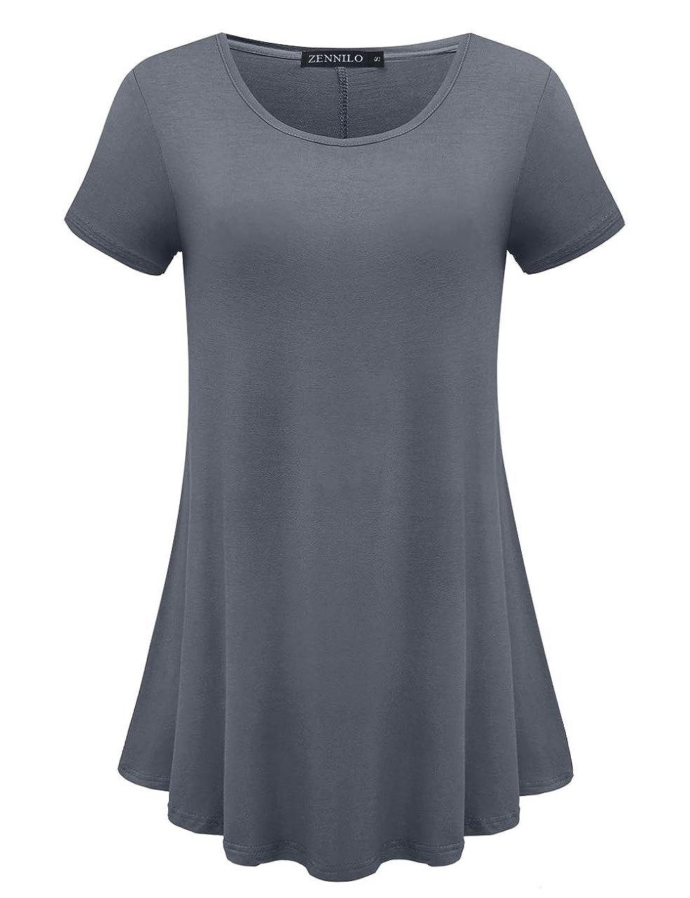 ZENNILO Womens Loose Fit Swing Tunic Tops for Leggings Basic T Shirt