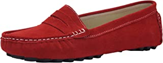 Women's Classic Handsewn Suede Leather Driving Moccasins Penny Loafers Casual Slip On Fashion Boat Shoes