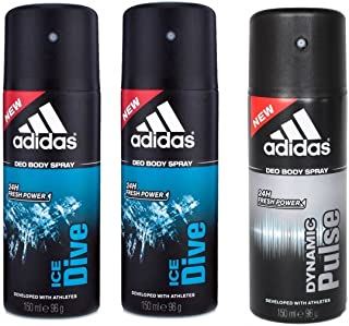 Adidas 2 Ice Dive, 1 Dynamic Pulse Deo -Pack of 3
