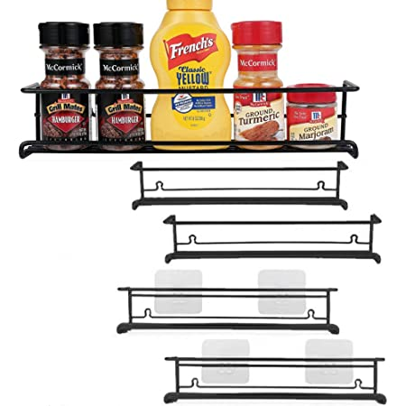 URFORESTIC Spice Rack Organizer for Cabinet, Door Mount, or Wall Mounted - Set of 4 Black Hanging Shelf for Spice Jars - Storage in Cupboard, Kitchen or Pantry - Display bottles on shelves, in cabinets