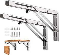 Vouwplankbeugels, Heavy Duty RVS inklapbare DIY wandgemonteerde plankbeugel, maximale belasting: 68 kg, voor tafelwerkbank...