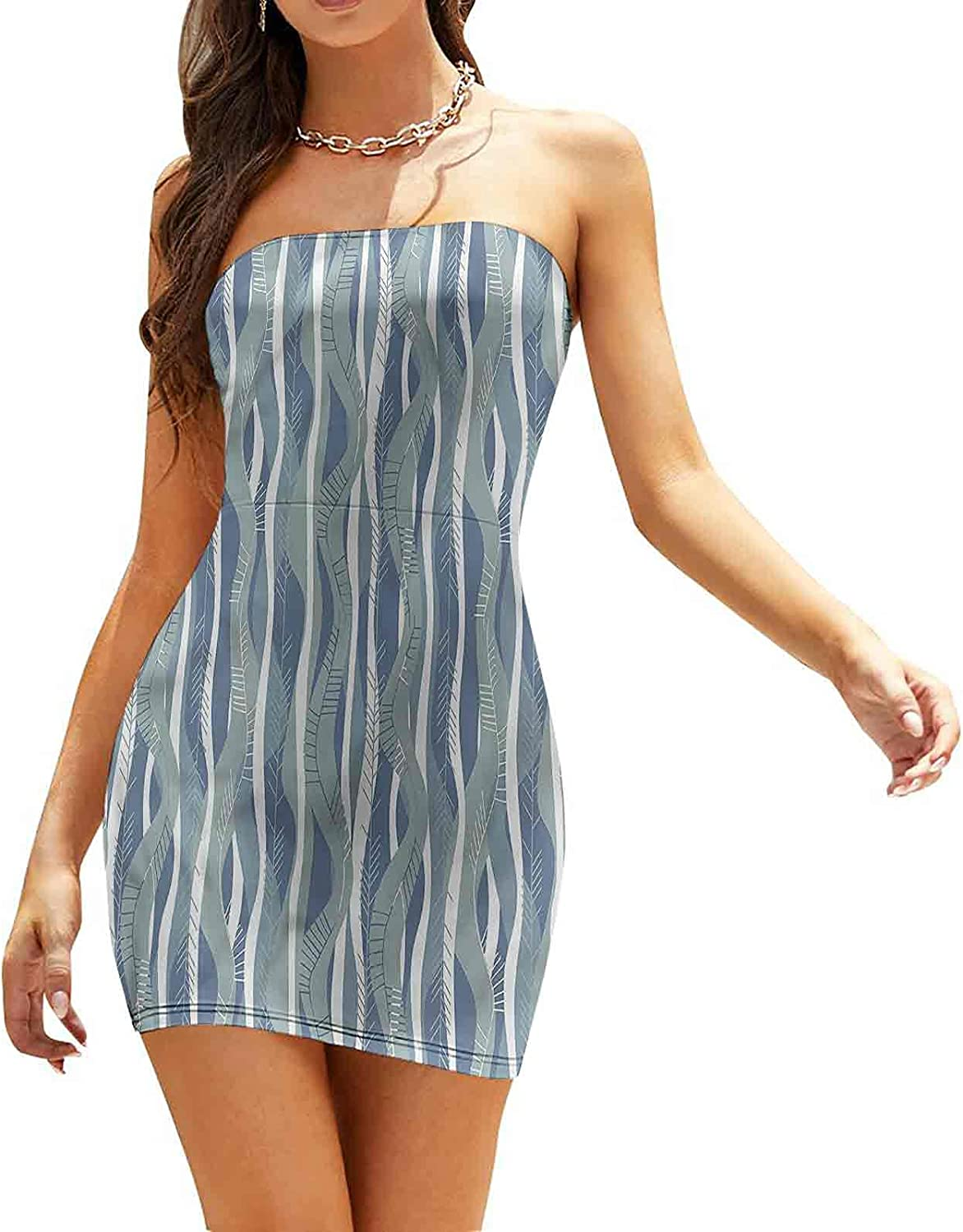 Women's Sleeveless Sexy Tube Top Dress Abstract Ikat Composition Dresses