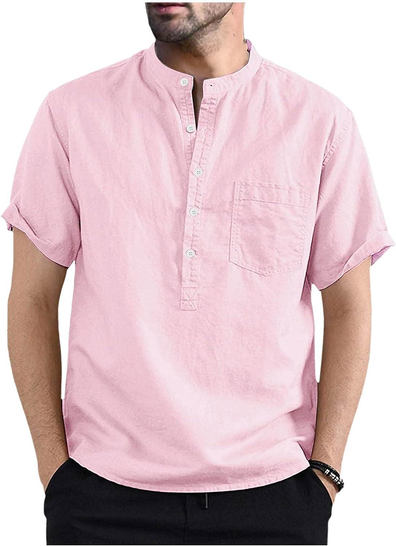 WUAI Mens Linen Henley Shirts Casual Short Sleeve Lightweight Curved Hem Cotton Summer Beach Hippie Yoga Tops