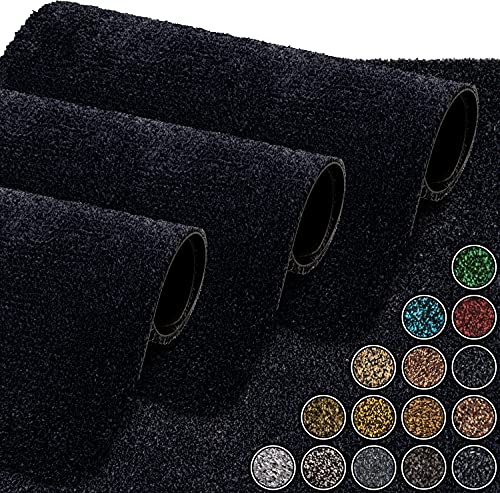 GadHome wasserabsorbierende Fußmatte, Anthrazit / Luxe 40 cm x 60 cm | Fußmatte für innen und außen | rutschfeste, waschbare, schnell trocknende Haustürmatte aus weicher Baumwolle