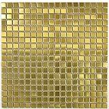 Azulejos de mosaico de acero inoxidable dorado y acero cepillado para pared, baño, ducha, cocina, espejo, revestimiento de bañera, 10 alfombrillas de mosaico