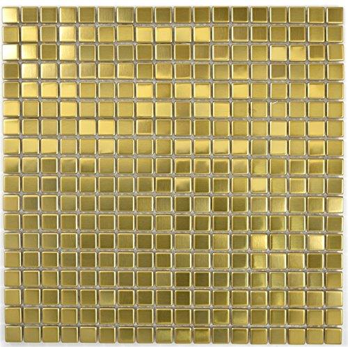 Mosaik Fliese Edelstahl gold Gold Stahl gebürstet für WAND BAD WC KÜCHE FLIESENSPIEGEL THEKENVERKLEIDUNG BADEWANNENVERKLEIDUNG Mosaikmatte Mosaikplatte