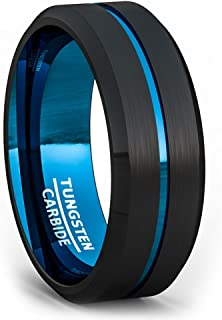Duke Collections 8mm Two Tone Black Tungsten Ring Thin Blue Line Groove Brushed Surface Beveled Edge Mens Wedding Band Tungsten Carbide Comfort Fit