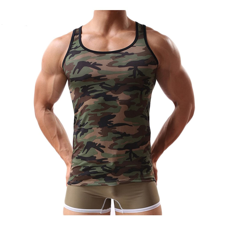 Linyuan サマー Mens Summer Sleeveless Camouflage Vest Slim Fit タンクトップ Tank Top