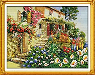 """Joy Sunday Cross Stitch Kits 14CT Counted Garden Villa 19.69""""x15.75"""" or 50cmx40cm Easy Patterns Embroidery for Girls Craft..."""