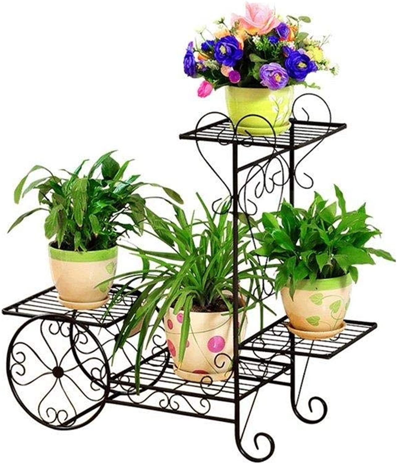 Flower Stand - Metal Floor Type Multi-Layer Flower Pot Plant Display Stand, Multi-Function Storage Rack, Garden Cart Rack, Suitable for Family, Garden, Courtyard (color   Black, Size   Small)